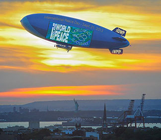 IDWP peace blimp over NYC Harbor